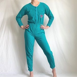 Vintage 90s Teal Pajama Jumpsuit with Embroidery